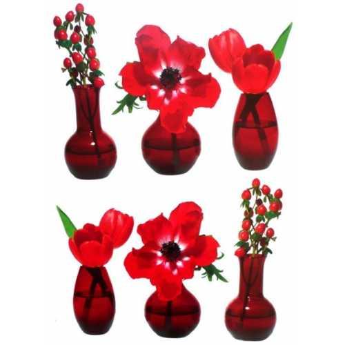 Grand stickers Fleurs rouges en vases