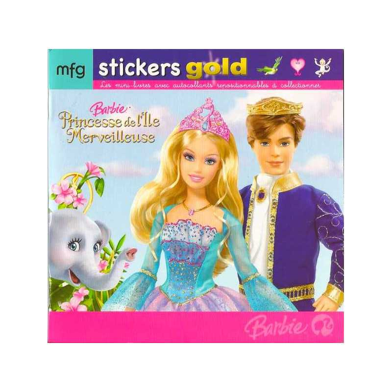 Stickers gold barbie princesse de l 39 ile merveilleuses - Barbie et l ile merveilleuse ...