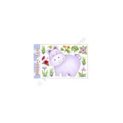 Grand stickers murale Hippopotame