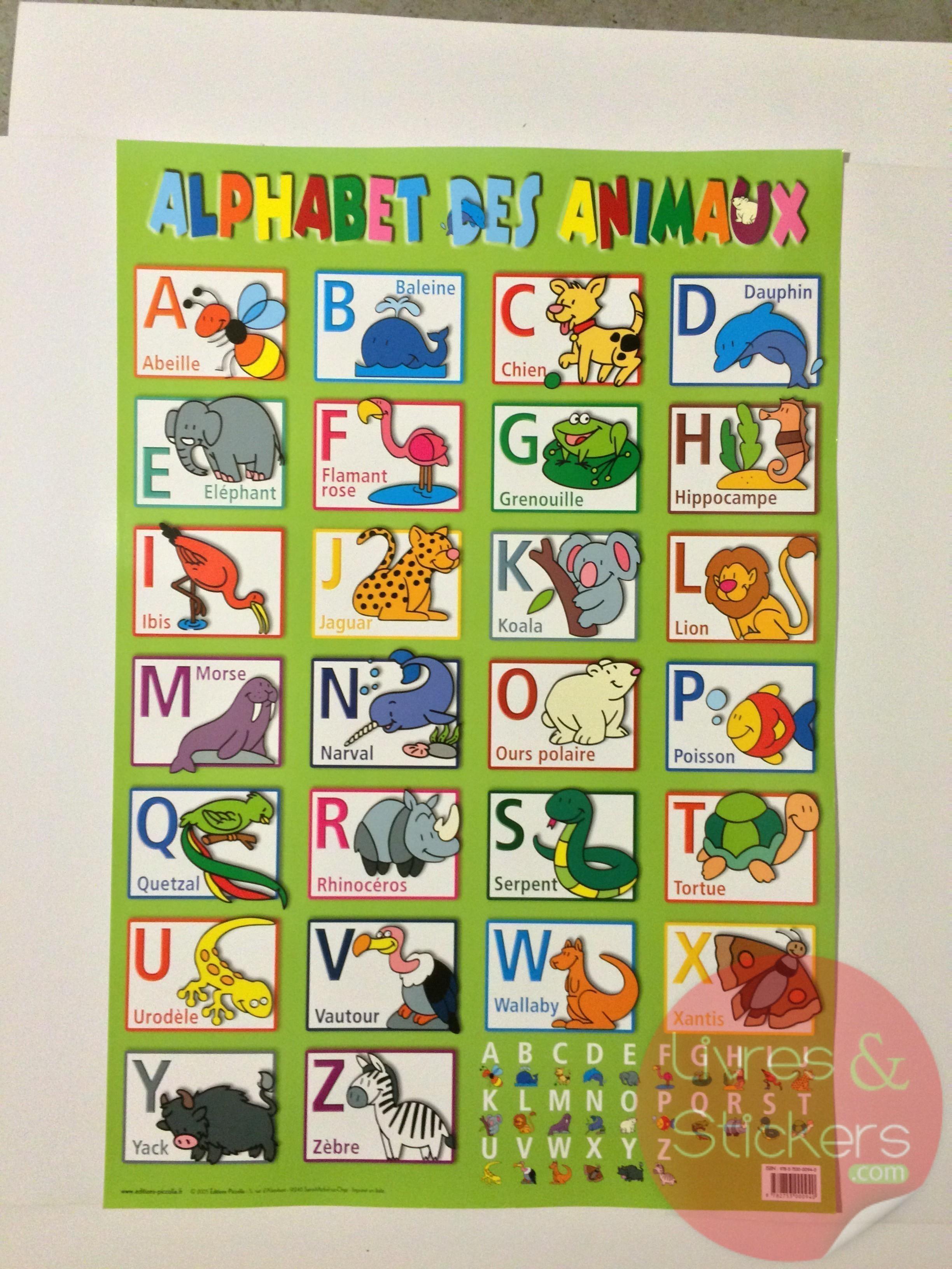 Posters Educatifs L Alphabet Des Animaux Livres Et Stickers