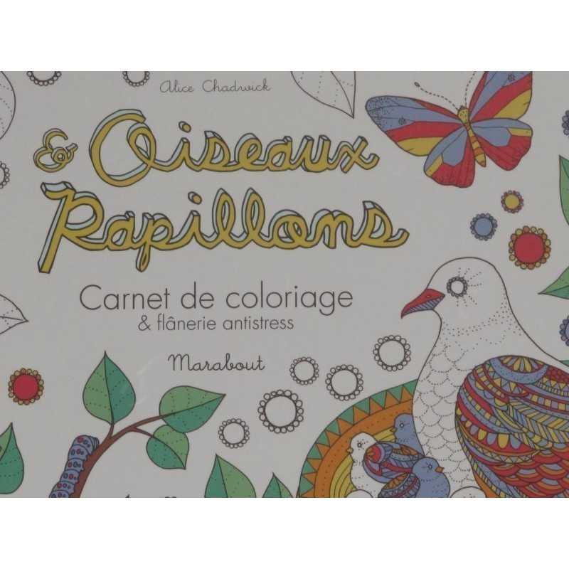 Oiseaux et papillons carnet de coloriage et flânerie antistress