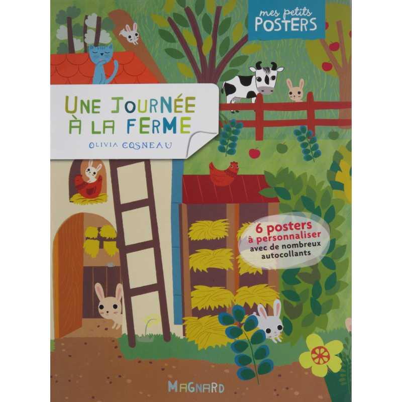 Une journée à la ferme 6 posters à décorer avec autocollants