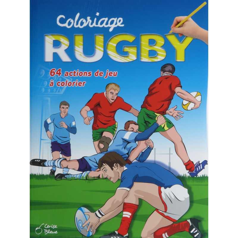 Coloriage Rugby 64 action de jeu à colorier