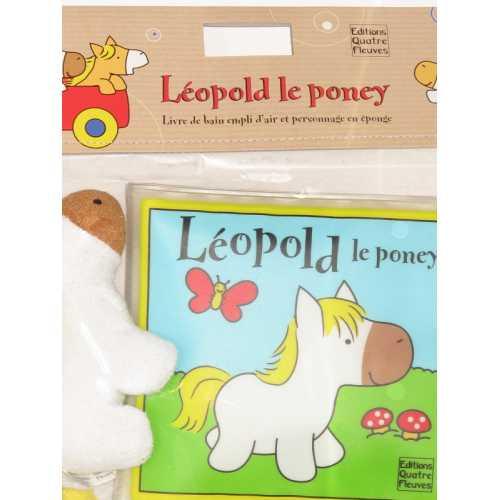 Léopold le poney. Livre de bain rempli d'air et personnage en éponge.