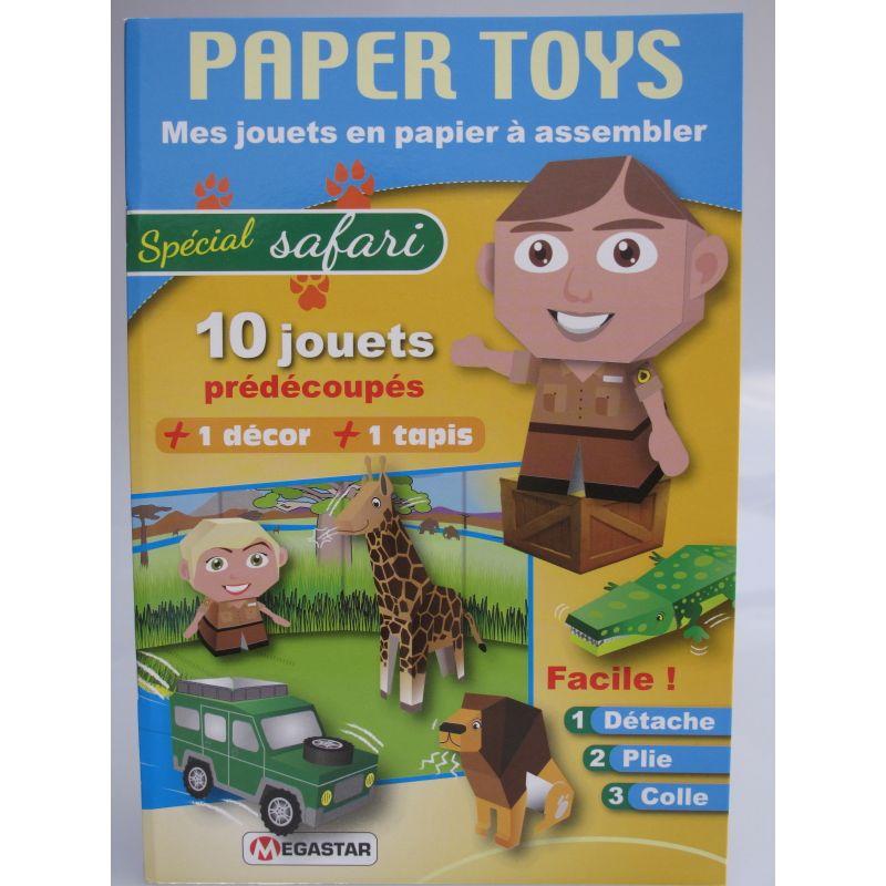 Paper toys, mes jouets en papier à assembler. Spécial safari 10 jouets prédécoupés +1 décor +1 tapis.