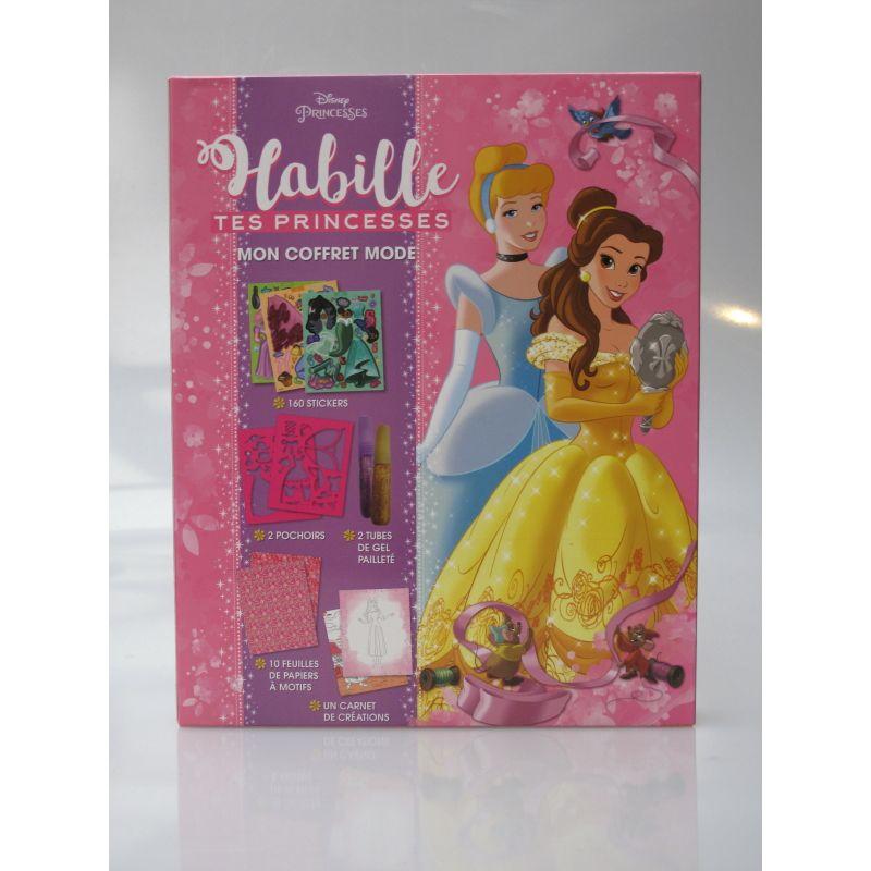 Habille tes princesses mon coffret mode. Disney princesses, 160 stickers, 2 pochoirs, 2 tubes de gel pailleté, 10 feuilles de pa