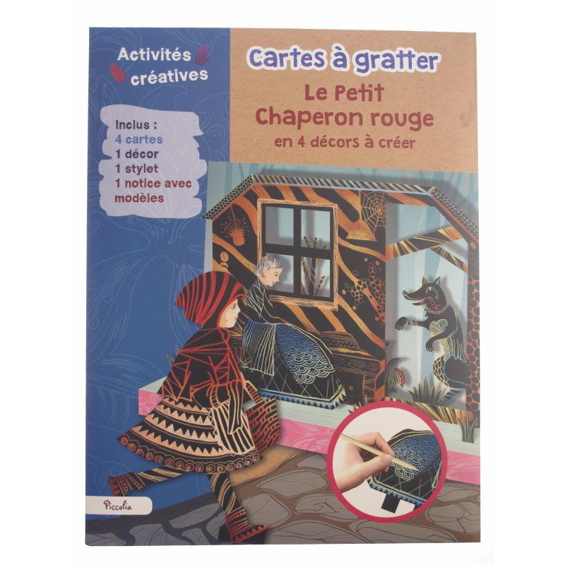 Cartes à gratter Le petit Chaperon rouge en 4 décors à créer. Activités créatives.